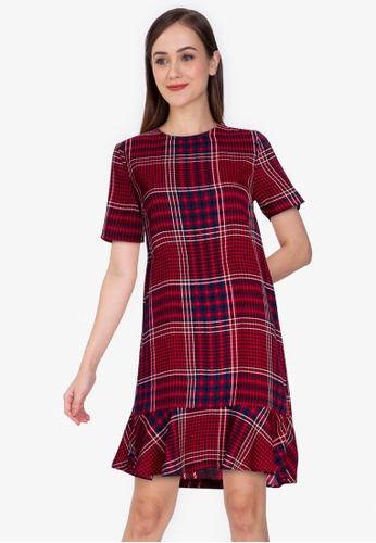ZALORA WORK multi Short Sleeve Peplum Hem Dress 41278AA79D707FGS_1