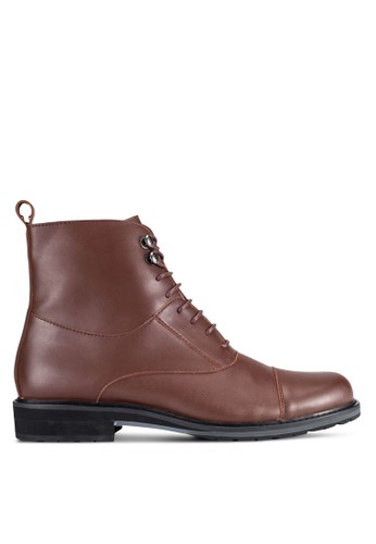 ZALORA brown Contemporary Faux Leather Dress Boots 296B3AA57F37D1GS_1