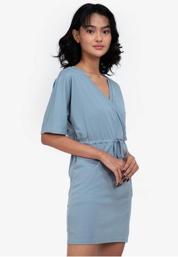 ZALORA BASICS blue Jersey Wrap Drawstring Dress 8DA41AA6A35D62GS_1