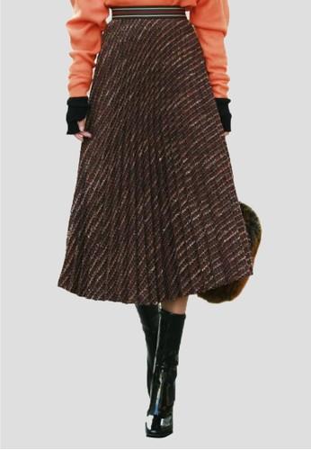 粗花呢鬆緊腰百褶長裙, 服飾, esprit地址長裙