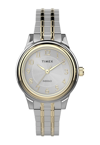 Timex silver and gold Timex Main Street Classic 28mm Stainless Steel Expansion Band Watch with Perfect Fit - Two-Tone (TW2V04200) B28EAAC32A4122GS_1