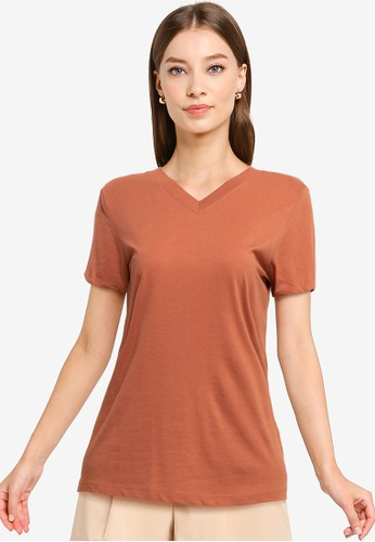 Tolliver brown V Neck Basic Short Sleeve Tee A480CAA57443BFGS_1
