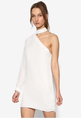 圍脖領單肩長袖直筒連身裙, 服飾, 洋esprit outlet 台灣裝