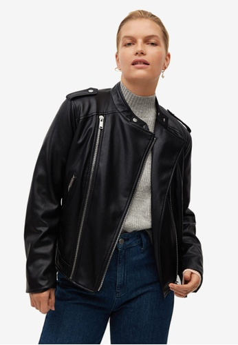 Violeta by MANGO black Plus Size Zipped Biker Jacket 53C6EAA0623AD1GS_1