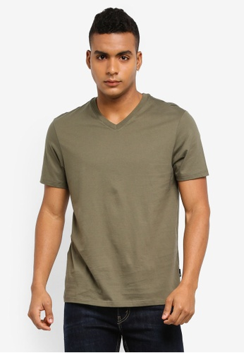 Burton Menswear London green Khaki V-Neck T-Shirt F8054AA89478F8GS_1