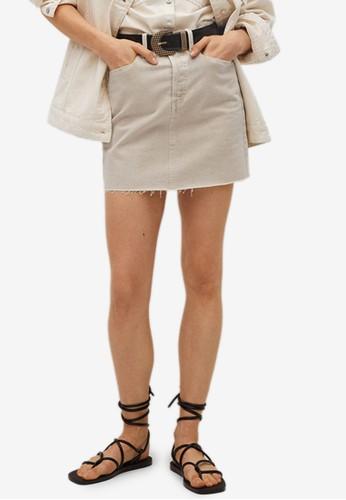 Mango beige Denim Mini Skirt 57206AA1E76432GS_1