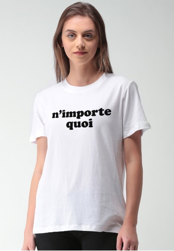 Greatvalueplus white Whatever In French Women's Round Neck Statement T-shirt D0DEBAA7DA6922GS_1