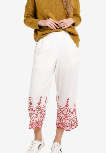 TOPSHOP white Embroidered Trousers TO412AA35GEIMY_1