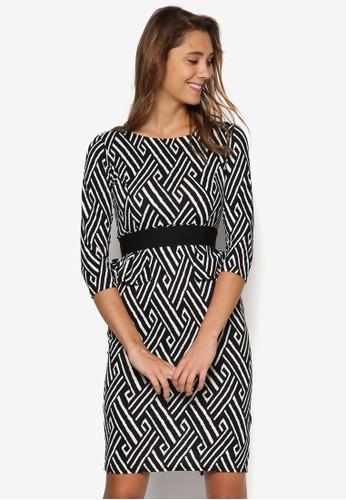復古風印花束腰連身裙, 服飾, esprit暢貨中心洋裝