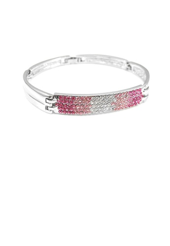 Glamorousky pink Elegant Bangle with Pink Austrian Element Crystals 9AFAFACD52B6CFGS_1