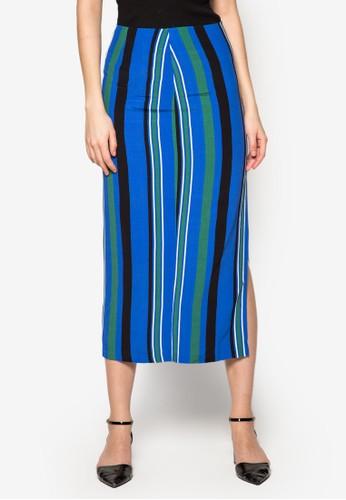 條紋開衩長裙, zalora 衣服評價服飾, 長裙
