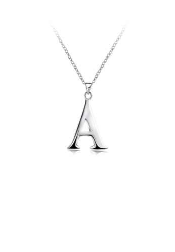 Glamorousky silver Simple and Fashion Letter A Pendant with Necklace 381C3AC3F33FEAGS_1