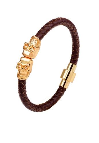 HAPPY FRIDAYS Skull Magnetic Buckled Leather Bracelet QNW2281 3B5E9AC4975FDBGS_1