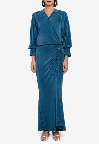 Zalia 綠色 Pleat Wrap Top With Bishop Sleeve Set 54B0DAAACA549DGS_1