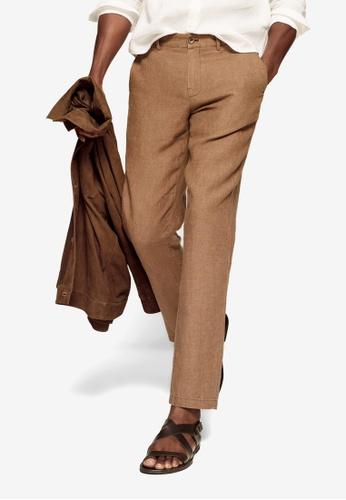MANGO Man brown Slim Fit Linen Trousers 024F4AA4BAC15BGS_1