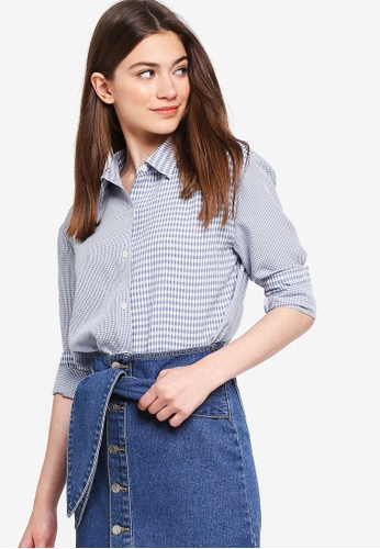 Something Borrowed blue Contrast Checks Oversized Shirt A2F8FAA7AFA33FGS_1