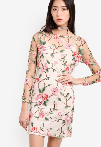 Miss Selfridge pink Rose Floral Dress MI665AA45TRAMY_1