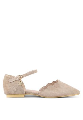 Twenty Eight Shoes beige Ankle Strap Velvet Ballet Flats TW281SH0RLUCMY_1
