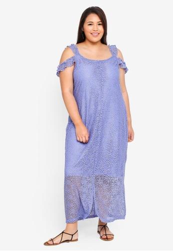 ELVI purple Plus Size Sulfo Lace Midaxi Dress With Split Straps FB74CAA4231423GS_1