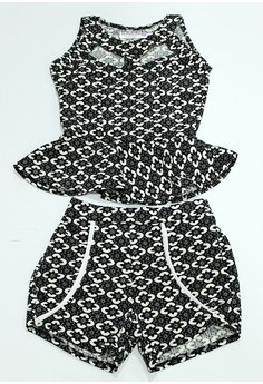Mary Peplum Top And Shorts Set