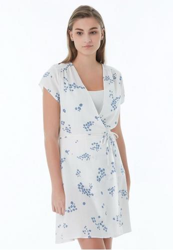 United Colors of Benetton white V-neck Crisscross Dress 4F727AA52CFF2BGS_1