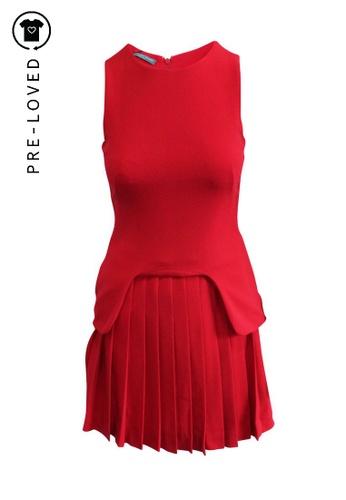 ALEXANDER MCQUEEN red Pre-Loved alexander mcqueen Red Pleated Dress DFDDFAA701B8CFGS_1