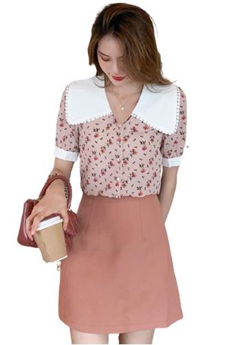 Halo 粉紅色 法式大領印花上衣 3F3D2AAACFC54DGS_1