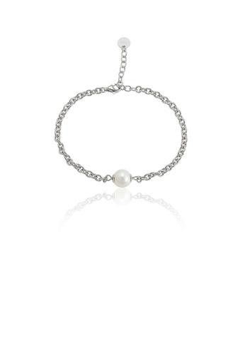 Glamorousky white 925 Sterling Silver Simple Fashion Geometric Freshwater Pearl Bracelet 76470AC605E084GS_1