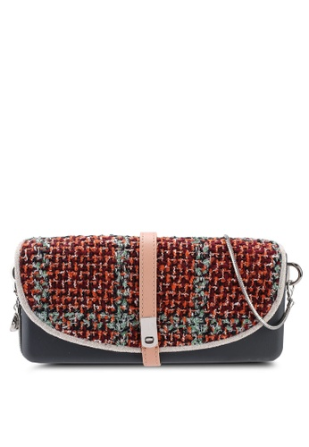 Hoola Hoola grey Camilla Clutch - Lavastone Red Tweed with Snake Chain 2C70FAC91C4604GS_1