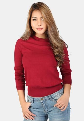 London Rag red Fine Knit Solid Sweater 5C41CAA11C26B9GS_1