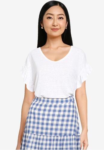 GAP white Ruffle Short Sleeve Linen Tee AA7CCAAB98A59FGS_1