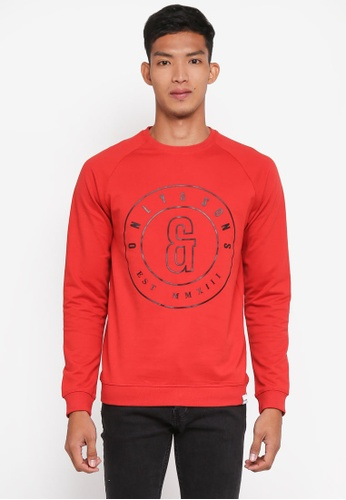 Only & Sons red Fana Logo Sweatshirt 06167AA669D797GS_1