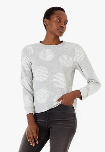 MARKS & SPENCER grey Cosy Polka Dot Straight Fit Sweatshirt 68E54AACE0B6F2GS_1