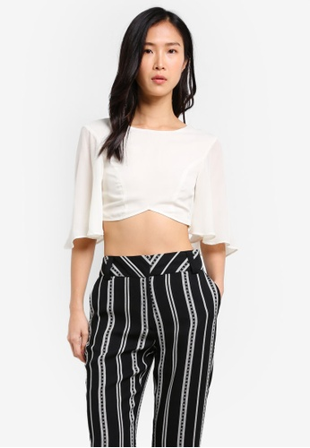 TOPSHOP white Angel Sleeve Crop Top TO412AA0SHH1MY_1