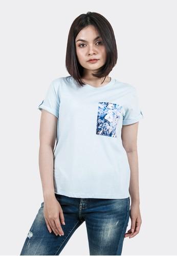 FLIES blue Kaos lengan pendek wanita A12724F Blue 316E2AA6672AB7GS_1