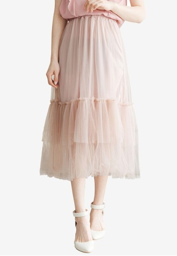 Tokichoi orange Mesh Layer Long Skirt D4377AAC5D34C2GS_1