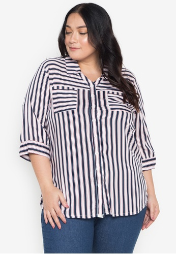 Maxine multi Plus Size Striped Shirt AF992AAEC582D5GS_1