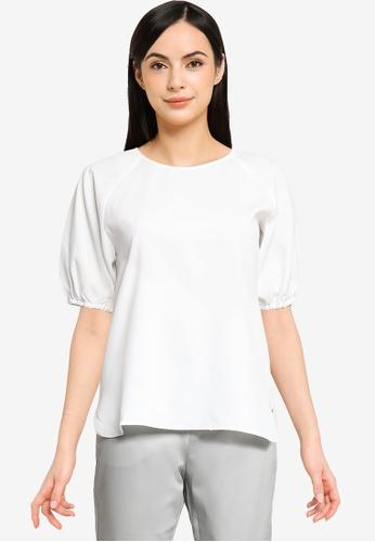 G2000 white Puffed Sleeves Basic Blouse 2FCBAAA0B80C55GS_1