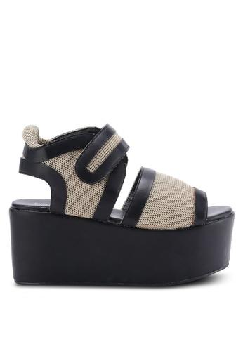 Public Desire beige Tiger Flatform Sandals PU378SH25BMOMY_1