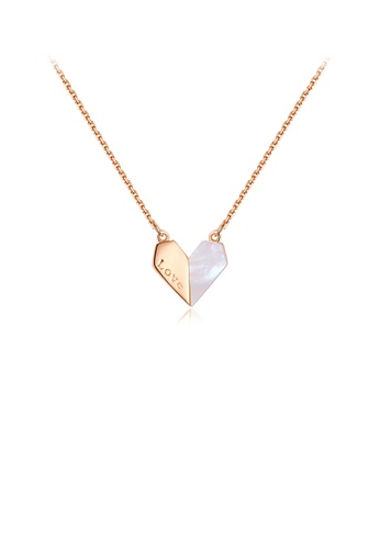 Glamorousky silver 925 Sterling Silver Plated Rose Gold Simple Romantic Heart-shaped Shell Pendant with Necklace 091FCACBD9E166GS_1