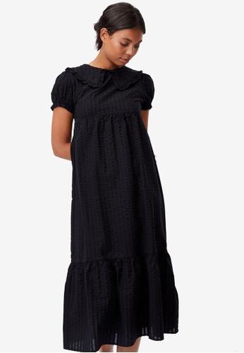 Cotton On black Woven Nori Babydoll Wide Collar Midi Dress 6A726AA07584C5GS_1