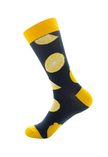 Kings Collection grey Dark Gray Lemon Pattern Cozy Socks (EU39-EU45) 26E57AA18C0293GS_1