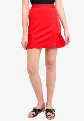 ZALORA BASICS red Scuba Skirt 6439CAA9AD5DFEGS_1