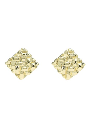 Red's Revenge gold Textured Square Stud Earrings 78B46ACEF1A8B2GS_1
