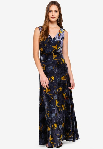 b2a2b8a1afc Buy French Connection Aventine Velvet V Neck Maxi Dress   ZALORA HK