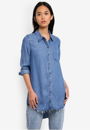 ONLY blue ONLY ONE Lary Long Sleeve Denim Shirt BE831AA0DFE232GS_1