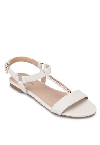 金屬條Tzalora taiwan 時尚購物網 字帶平底涼鞋, 女鞋, 涼鞋
