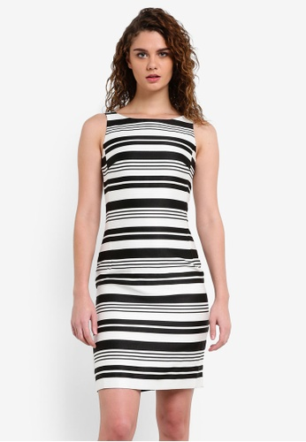 ESPRIT black and white and multi Light Woven Striped Dress ES374AA0RJ2DMY_1