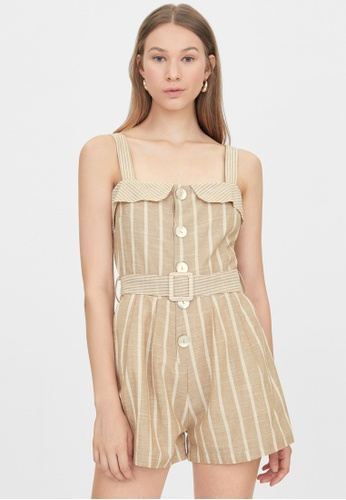 Pomelo beige Belted Button Up Sleeveless Romper - Beige 6BC53AABCA9460GS_1