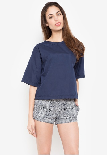 Courier blue Quarter Plain Blouse 8C095AA4B30BC2GS_1